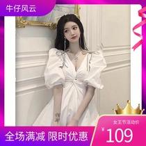 夏季新款2020韩版时尚纯色小香风气质连衣裙水钻蝴蝶结泡泡袖短裙