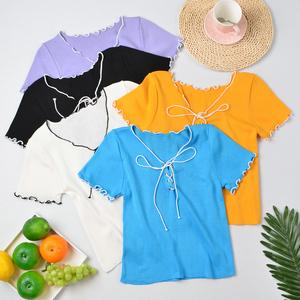 CX5375# 最便宜服装批发 宽松短袖t恤女韩版新款夏设计感木耳边小香风针织衫上衣