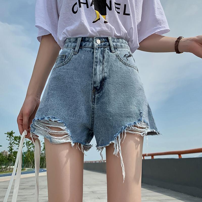夏季新品韩版阔腿破洞热裤学生百搭个性图案口袋高腰牛仔短裤女装