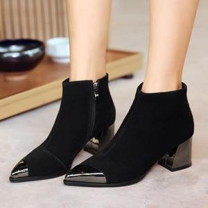 尖头春秋季单靴子粗跟高跟新款女鞋