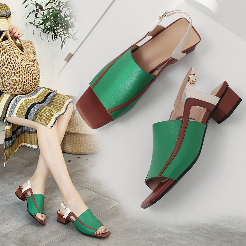 Summer 2020 new womens sandals grass green thick medium heel square heel peep toe Black Leather comfortable womens shoes