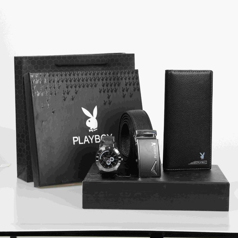 Playboy Leather Belt Wallet Gift Box Set mens leather pants belt birthday gift for father, father and boyfriend