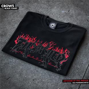 【王一博同款】Thrasher Crows 血色烈焰烏鴉暗黑火焰短袖情侶T恤