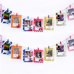 创意组合悬挂卡纸相框照片墙装饰彩色麻绳夹子清新相片墙挂墙包邮