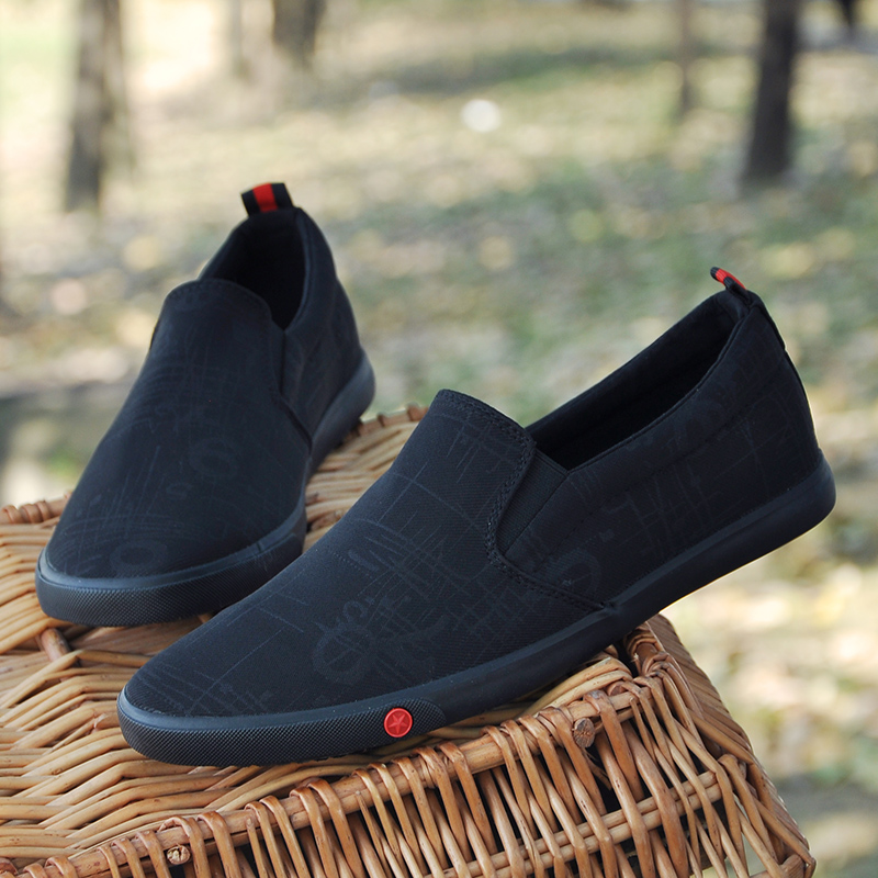 Canvas shoes old Beijing cloth shoes fashion cow tendon soft sole one foot pedal lazy shoes black thin sole casual shoes mens shoes