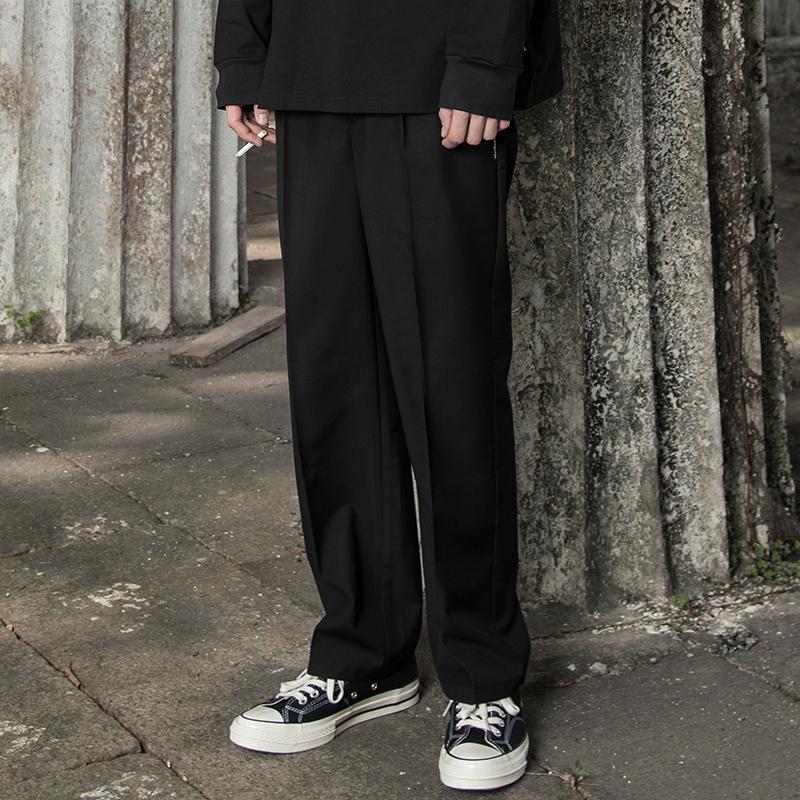 MaxBeats19SS春装直筒宽松英式雅痞休闲纯黑色西裤男欧美学院裤子限5000张券