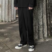 MaxBeats19SS春装直筒宽松英式雅痞休闲纯黑色西裤男欧美学院裤子