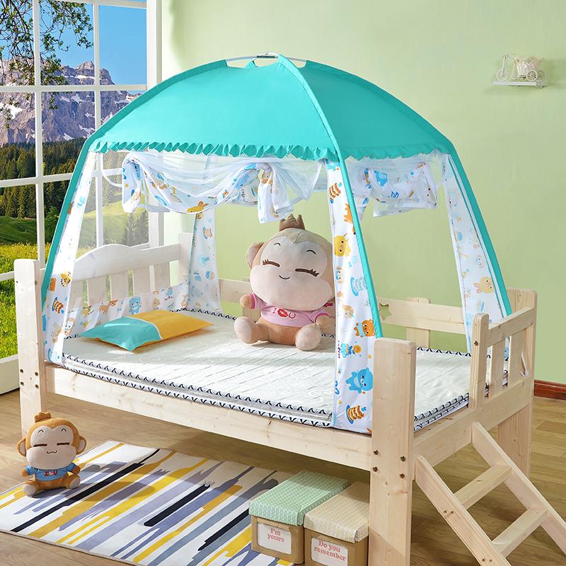 不包邮高档儿童婴儿蚊帐三开门0.6/0.7m0.8m床遮光蒙古包防尘罩全底小孩