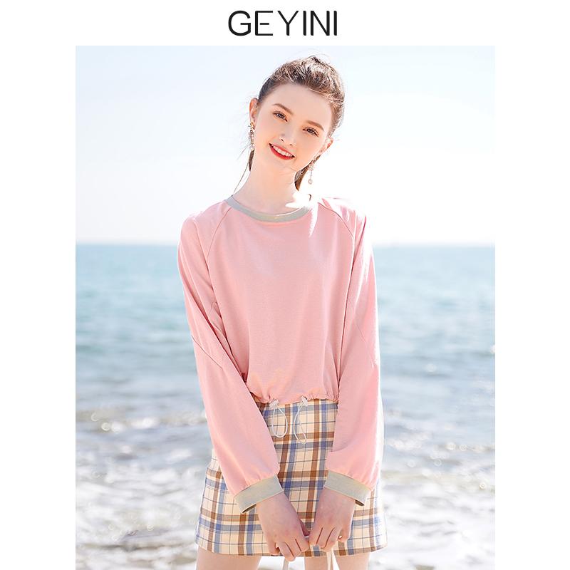 2020新款夏季韩版学生粉色拼接宽松短款t恤ins上衣无帽套头卫衣女