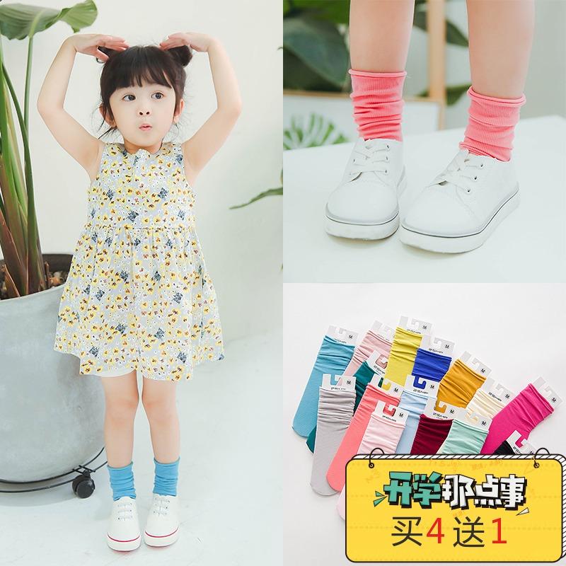 3双包邮 卓上棉品春季新款纯色丝袜天鹅绒堆堆彩袜1-3-7-10岁