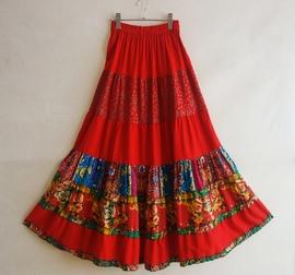 长裙棉麻拼接半身裙大裙摆舞蹈碎花花布民族风修身促销女装夏季