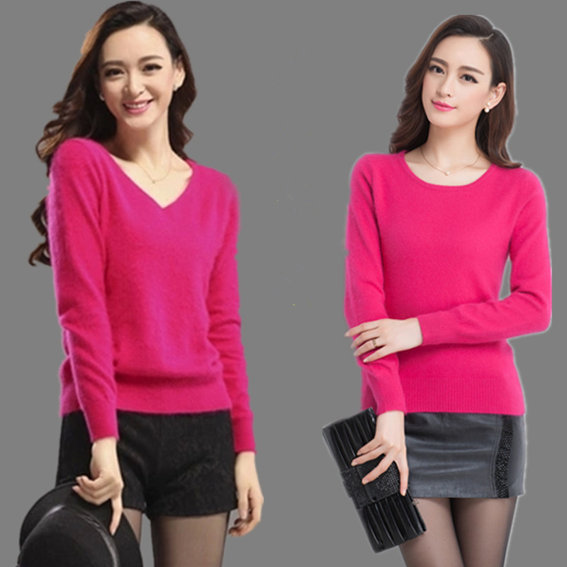 Autumn and Winter Rose sable new V-neck loose large cashmere sweater Pullover round neck knitted thickened sweater womens backing