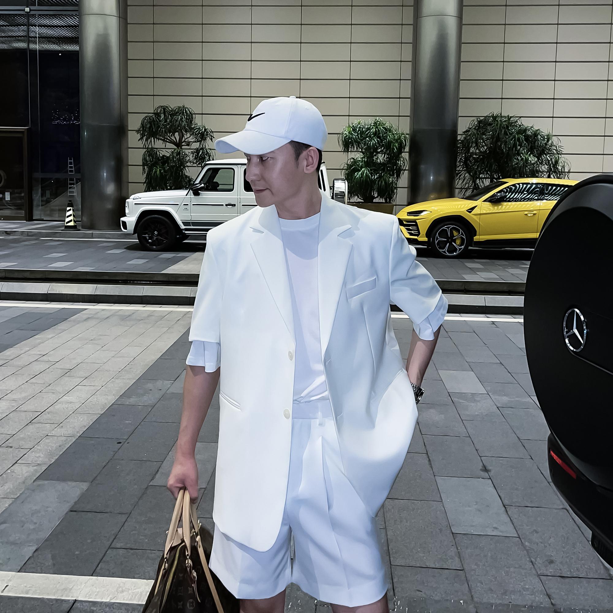 【DAIO ETHAN】韩国ins休闲纯色大牌短袖西服套装潮男夏短袖单西