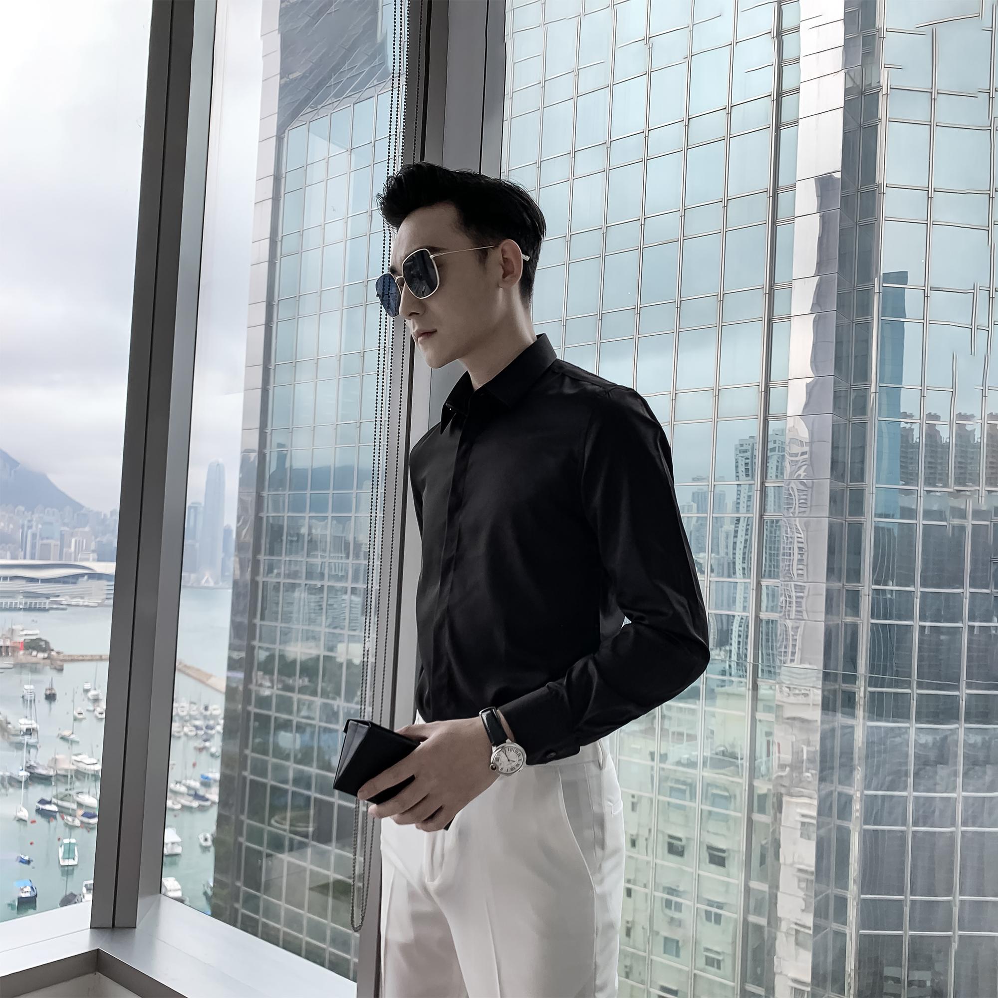 韩国男士长袖衬衫春夏尖领纯色百搭英伦休闲衬衣DAIOMENS