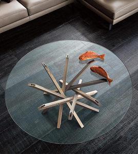 北欧黑胡桃实木茶桌 家用客厅个性创意钢化玻璃茶几圆形INS网红款