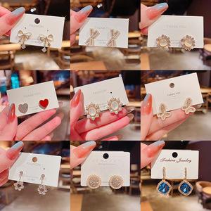 耳钉女夏2021年小众设计感珍珠宝石S925银针简约耳饰时尚气质配饰