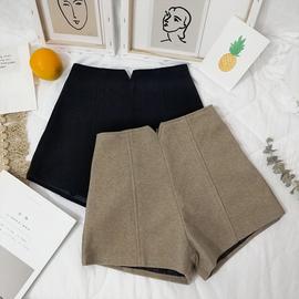 裤子女2019秋冬新款韩版宽松百搭呢子短裤高腰显瘦加厚外穿靴裤潮