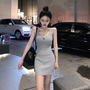 韩版运动风百搭修身显瘦针织吊带裙夏季收腰包臀连衣裙打底裙子女