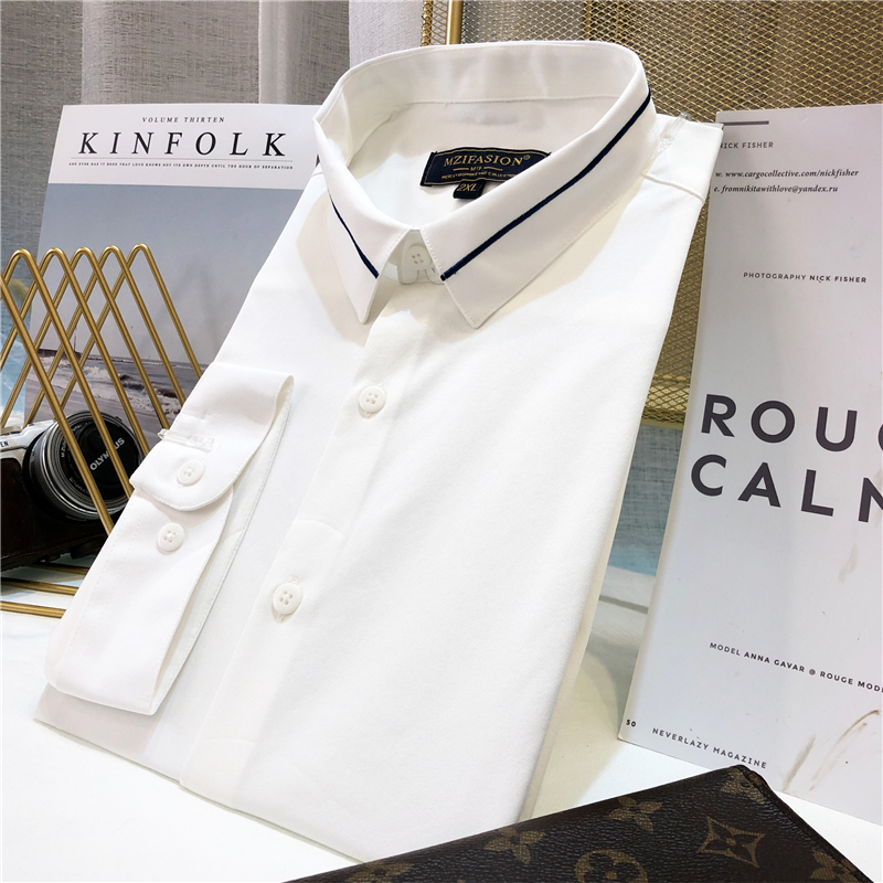 New summer slim mens Korean fashion shirt middle sleeve casual iron free embroidery handsome mix and match half sleeve top