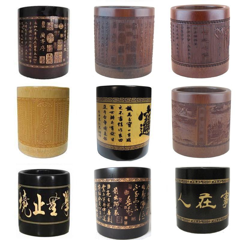 天然竹制笔筒创意时尚简约复古中国风雕刻办公桌面摆件定制印logo