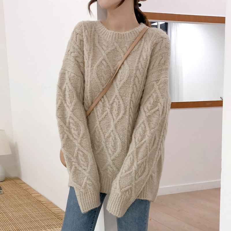 Autumn and winter 2020 Korean lazy round neck thickened twist loose Pullover wool sweater and red sweater for women