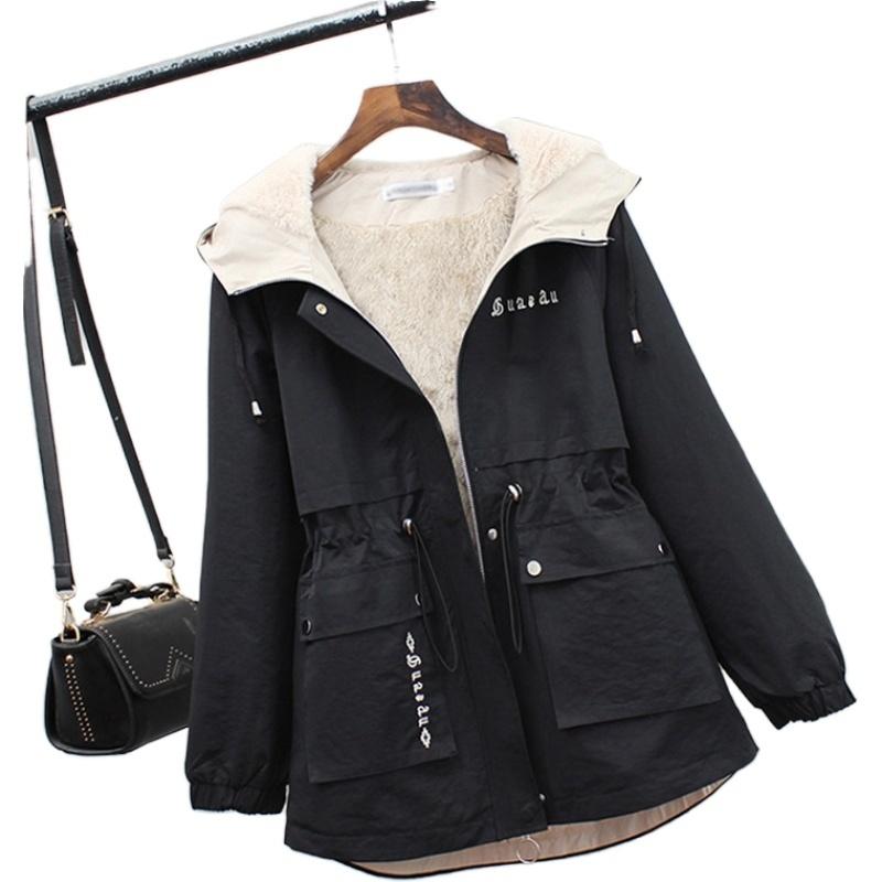 派克服女2019新款冬款胖妹妹显瘦棉服短款风衣小个子时尚皮草外套图片