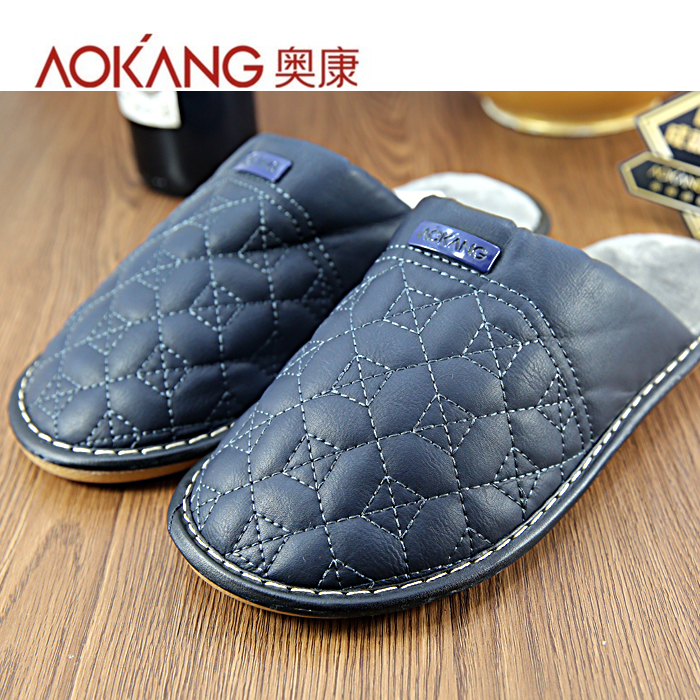 Aokang winter new household mens and womens cotton slippers comfortable casual slippers 9614224901 blue 961224808