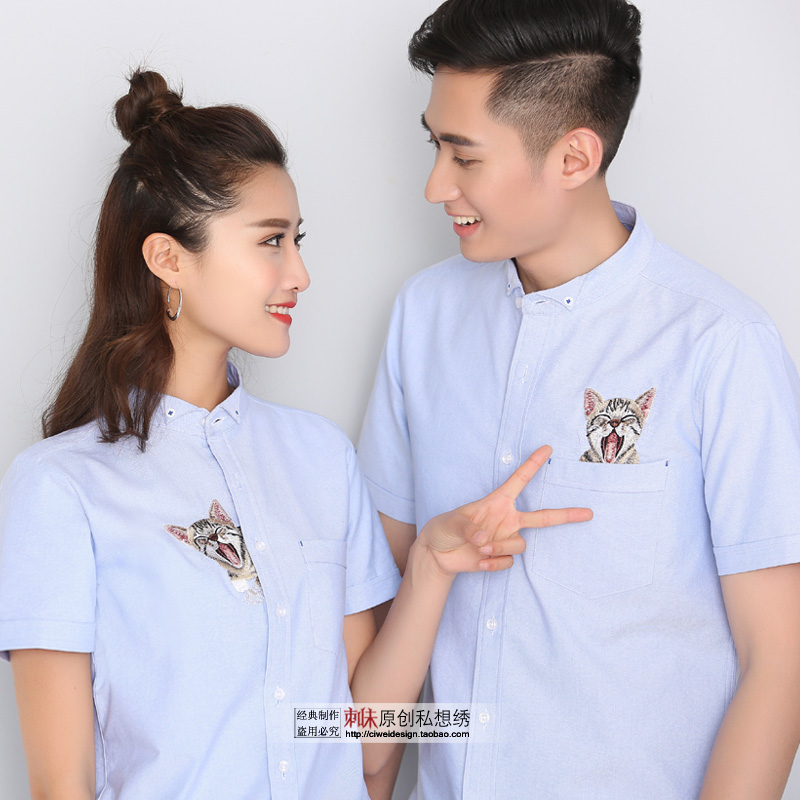 Summer lovers short sleeve shirt pocket cat embroidery meow star fresh personality Oxford spinning pure cotton men and women