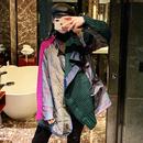 個性拼接毛衣女不規則2019春季新款寬松洋氣拼色高領中長款外套女