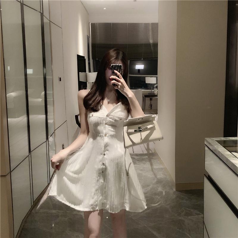 夏装新款韩版复古排扣性感V领吊带连衣裙港味chic时尚吊带裙女潮