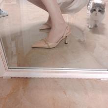 【兜兜皮】尖头复古简约蝴蝶结镂空包头浅口扣带式凉鞋细高跟女鞋