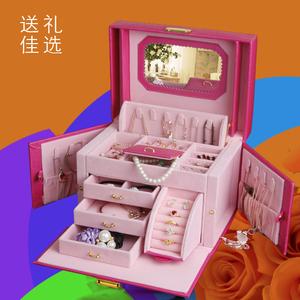 首饰盒带锁 公主欧式韩国大手饰化妆收纳盒手饰品盒木质礼物女