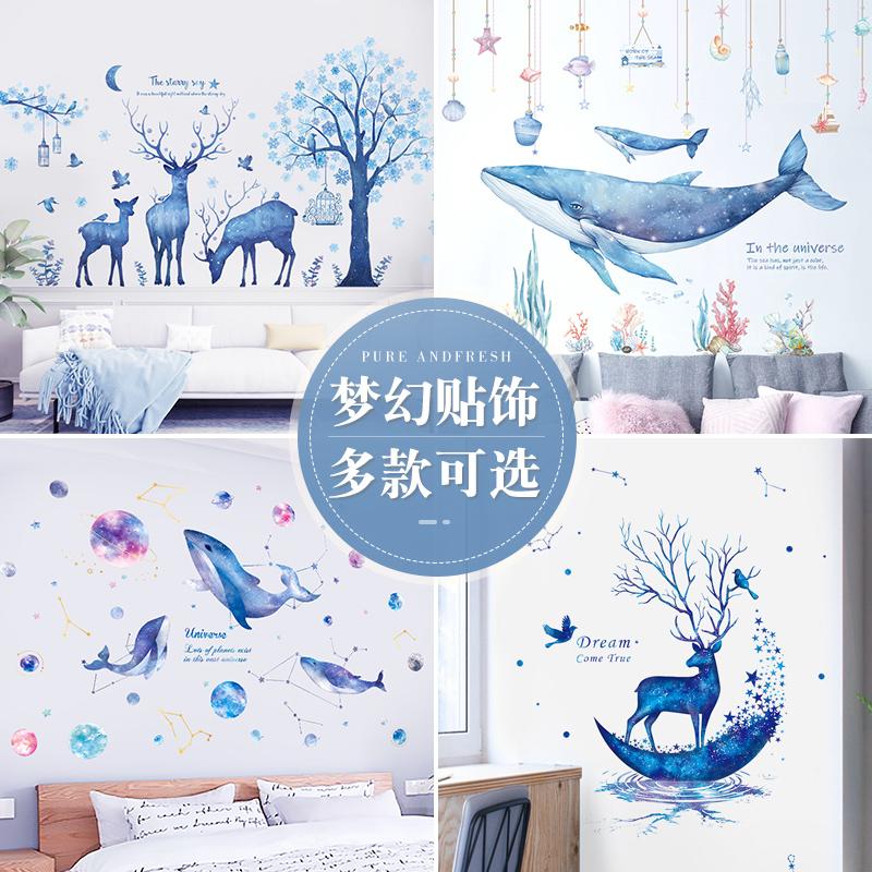ins蓝色墙贴纸学生宿舍寝室床头改造海报房间墙面装饰画门贴自粘