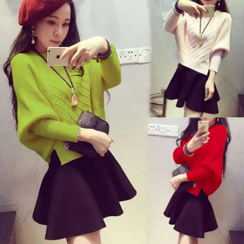 Счетчики аутентичные свитер платье установить Корейский женский 2016 зимой модельные повседневные юбки красавицы битой рукав двух частей комплекта