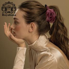 皇家莎莎發夾發飾紗質花朵香蕉夾豎夾韓國馬尾夾扭扭夾盤發頭飾品圖片