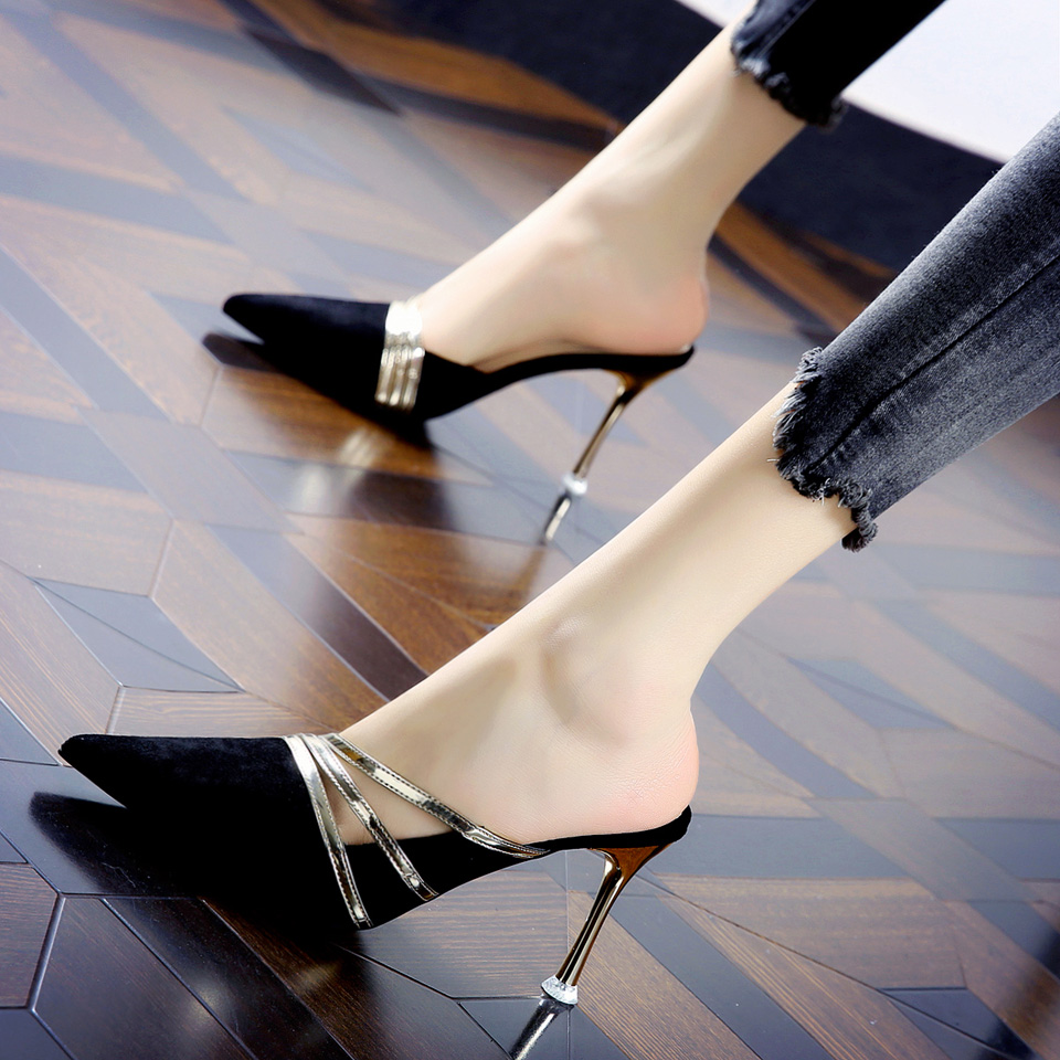 21夏季新款时尚镂空拼色尖头半拖鞋女韩版通勤职场包头细跟高跟鞋