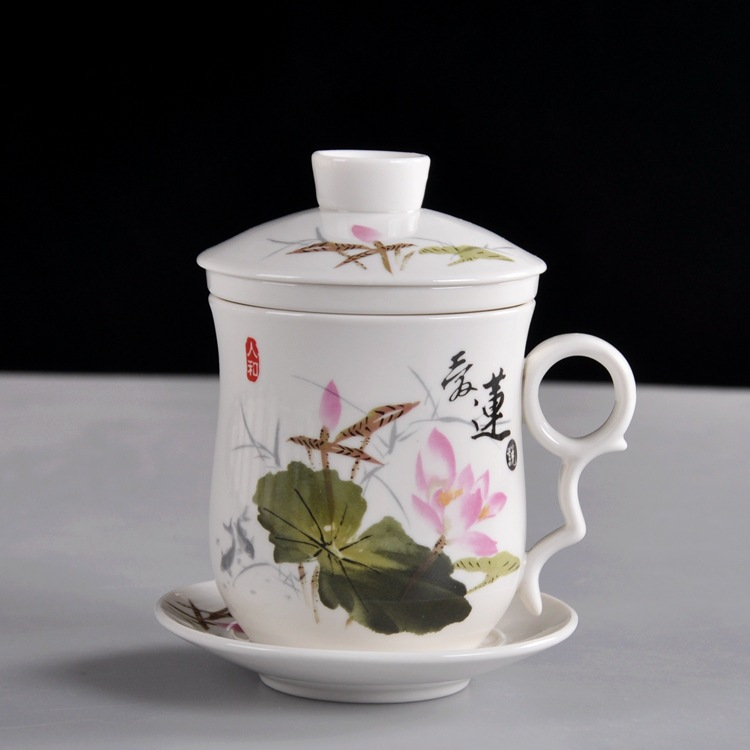 Cup with lotus pattern lady ceramic cup with cover home office tea separation cup