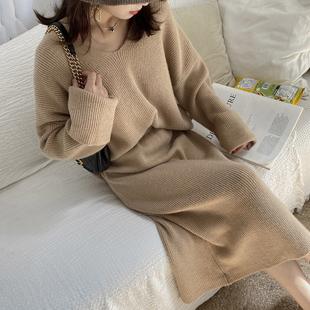彬ge大表姐2020年秋新款毛衣裙子套装女时尚秋冬针织半身裙两件套