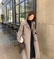 彬ge大表姐毛呢外套女2020年冬季新款韩版中长款格子双面呢大衣