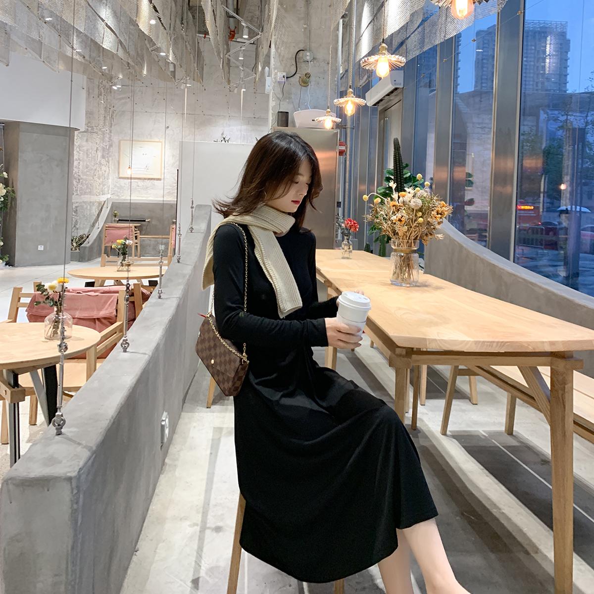 热销249件有赠品2019秋季新款流行高腰显瘦连衣裙