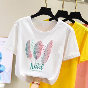 短袖t恤女2019新款白色韩版夏季女学生大码bf风半袖宽松百搭上衣