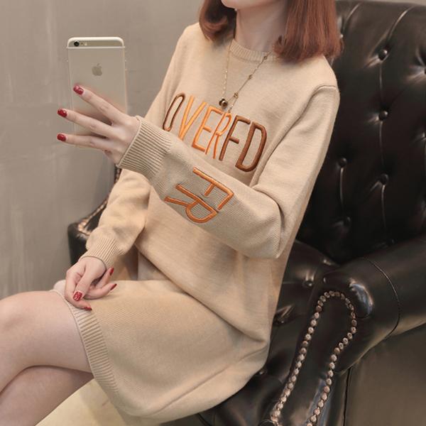 7760实拍新款春装女针织衫圆领长袖套头绣字母毛衣