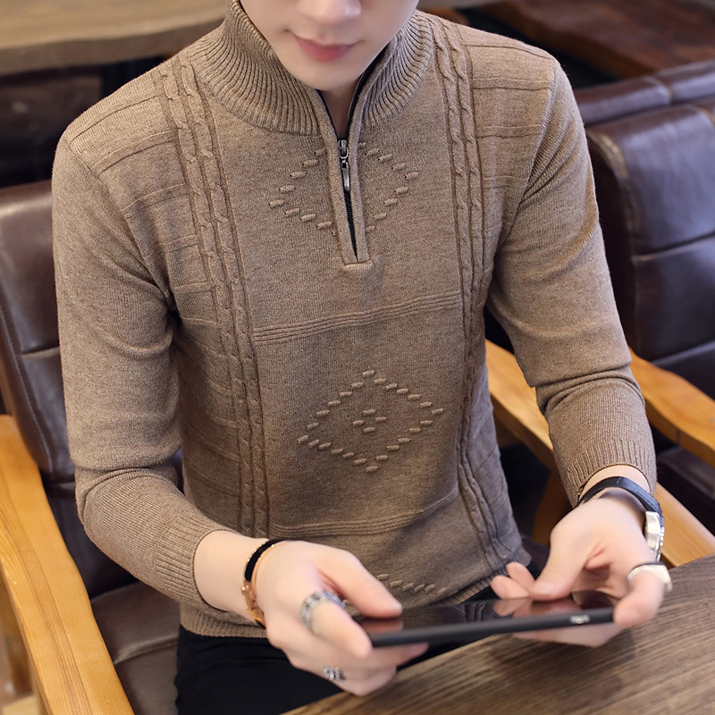 Zipper sweater autumn winter middle aged mens half high collar sweater mens solid sweater Pullover zipper sweater