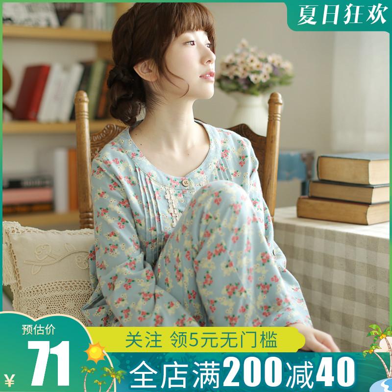 春秋纯棉长袖磨毛绒布日系甜美睡衣