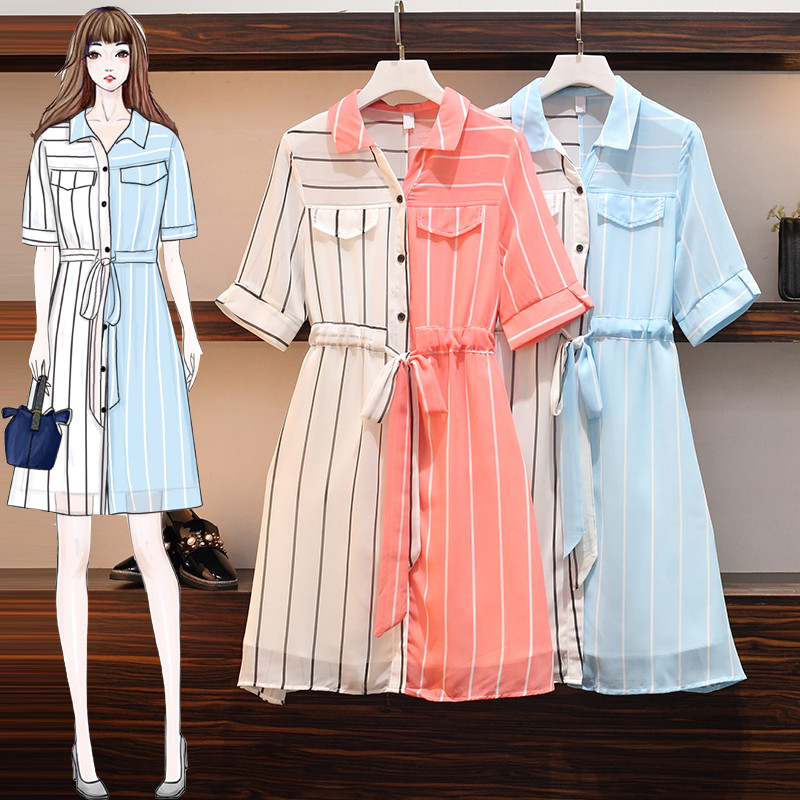 Large size womens dress 2020 summer simple fashion foreign style color matching stripe chiffon shirt dress medium length Weirui
