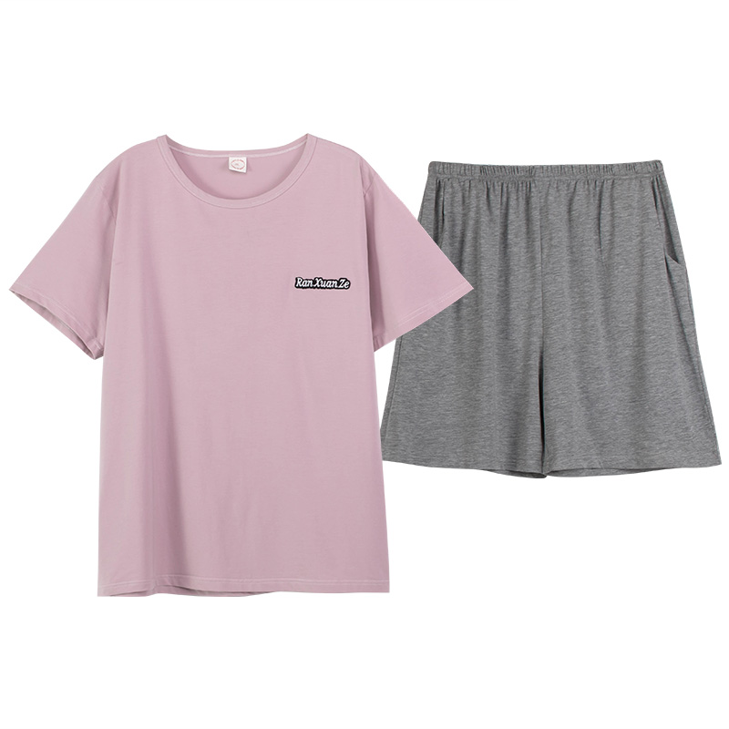 Pajamas womens summer cotton short sleeve shorts thin two piece set lovely loose large size home suit can be worn out