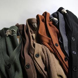 厚实重磅 复古全棉加厚粗线针织衫 V领纯色宽松落肩毛衣开衫外套
