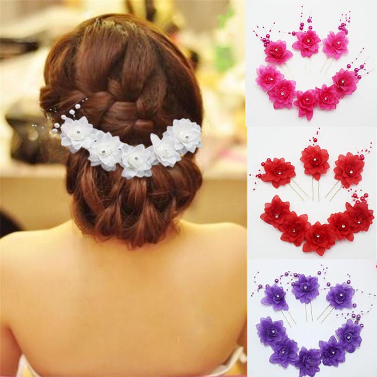 中国风花环新娘头饰花朵串珠饰品水钻红色头花发夹发卡U型针包邮