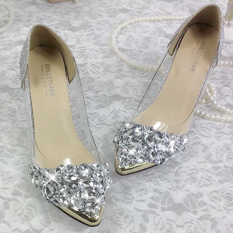 Princess water diamond wedding shoes pointed thin heel shallow mouth high heeled bride wedding photo wedding banquet crystal Bridesmaid working womens list