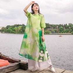 杨丽萍原创设计夏季新款斜襟交领文艺气质垂感透气真丝连衣裙女